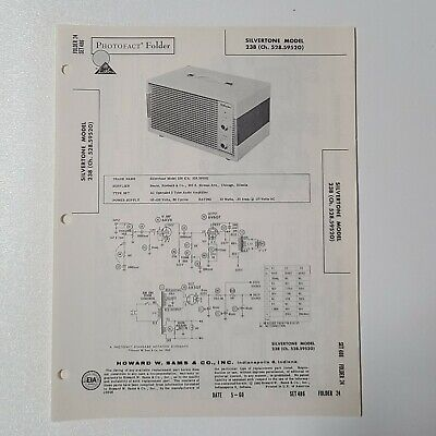 $ CDN3.62 • Buy Sams Photofact Service Manual 486-2 Silvertone Tube Amplifier 238 528.59520