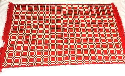 Vintage Retro Pure 100% Wool Red White Rug Throw With Square Pattern And Tassels • 39.99£