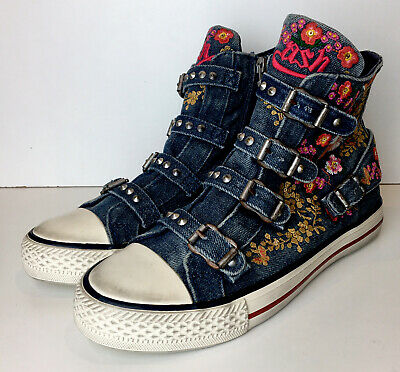 Ladies ASH Blue Denim Floral Embroidered Buckled High-Tops Ankle Trainers 4 / 36 • 49.99£