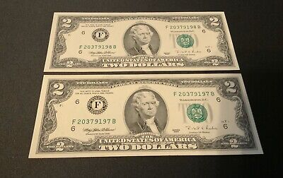 $ CDN9.21 • Buy 1995 UnCirculated Two Dollar Bill $2 Note -Consecutive Numbers SET OF 2