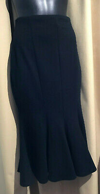 AU14 • Buy ASOS Size 12 Fitted Fishtail Wiggle Pencil Flare Midi Skirt Black Goth Pinup