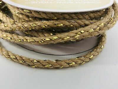 Jute~Twine~Rope~Cord Wired With Metallic Gold Ribbon 12 Feet For Gifts~Crafting • 3.61£