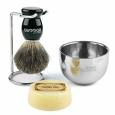 4in1 Anbbas Shaving Kits Men Fine Badger Bristle Shave Brush+Stand+Bowl Cup+Soap • 12.99£