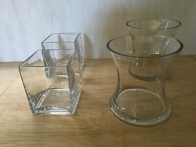 2 X Glass Waisted Vases 2 X Glass Cubes/candy Buffet. Excellent Condition.- • 8£