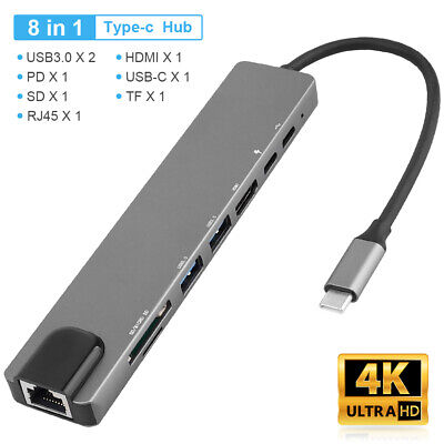 AU39.35 • Buy 8in1 USB-C USB Hub Dual Type-C Multiport SD/TF Card Reader Adapter 4K HDM