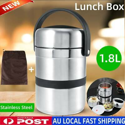 AU33.99 • Buy Stainless 1.8L Thermal Insulated Lunch Box Food Storage Container Thermo Server