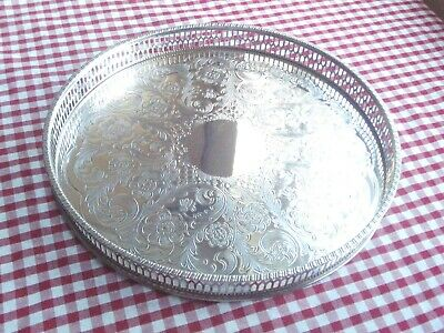 Beautiful Vintage VINERS Chased Alpha Silver Plate 10  Tray With Pierced Gallery • 16£