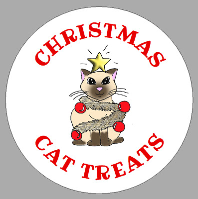 Circular Homemade Christmas Cat Treat Labels Round Gift Packet Or Jar Stickers • 2.50£