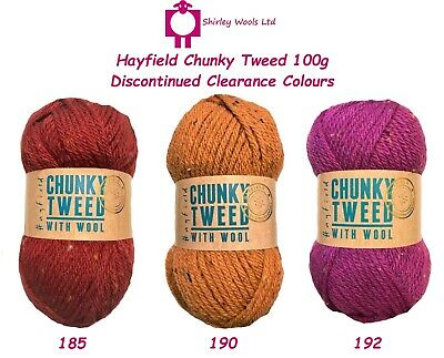 Hayfield Chunky Tweed 100g - Discontinued Clearance Cols. OUR PRICE £2.25 • 2.25£