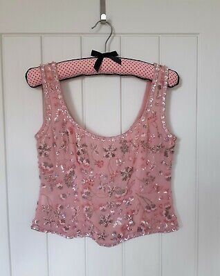 Caroline Charles Studio Blush Pink Silk Beaded And Embroidered Top, Size 8 • 24.50£
