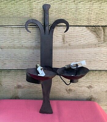 Vintage Gothic Wrought Iron Wall Sconce Double Torch Light Candle Holder Punk • 24.99£