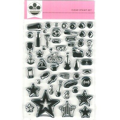Craftwork Cards Clear Stamp Set - For Him Man Stuff  53 Stamps In Total New • 4.25£