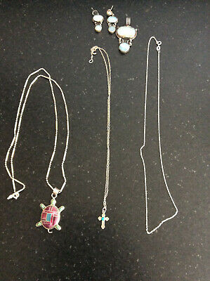 $ CDN32.96 • Buy Vintage Lot Of Silver Jewelry - Earrings, Chains, And Pendants (#23)