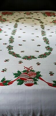 $ CDN34.67 • Buy Vintage Tablecloth Christmas White Poinsettias Pinecones Ornaments Holly 93 X59
