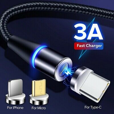 AU3.95 • Buy Magnetic Lightning Cable/Micro/Type C To USB 360° Fast Charging Data Charger 2M