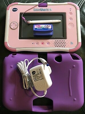 Pink Vtech Innotab 3S Plus Minnie Game, Downloaded Games, Charger And Gel Skin • 47.99£