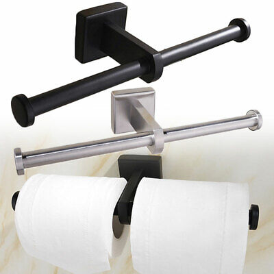 Double Toilet Roll Holder Stand Chrome Wall Mounted Dual Paper Stainless Steel • 9.61£