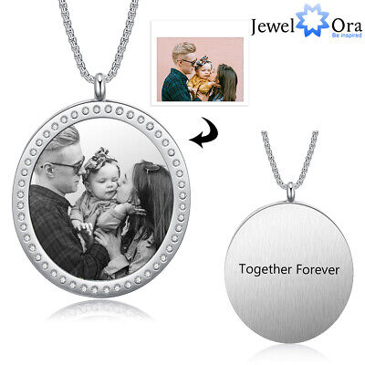 Personalized Picture Necklace Custom Free Engraved Text Stainless Steel Pendant • 9.99£
