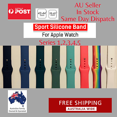 AU6.50 • Buy For Apple Watch Series 1 2 3 4 5 Sport Silicone Replacement Strap Band
