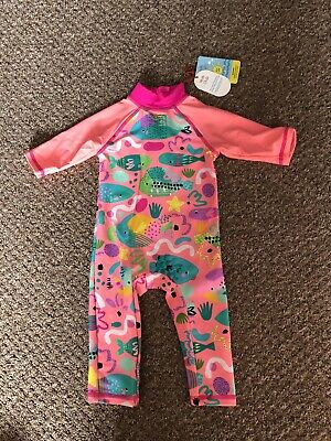 Boots Mini Club Baby Girls 6-9m UV Swim Suit Sun Safe Swimming Fishes Pink • 9£