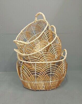 Wicker Storage Baskets With Handle - 3 Sizes Available New • 10.99£