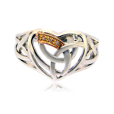 Clogau Silver Ring SIZE L,N,Diamond 9ct Welsh Rose Gold Eternal Love Heart NEW • 59.90£