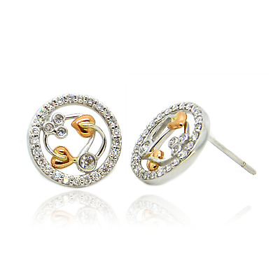 Clogau Earrings Welsh 18ct White And Rose Gold Diamond Tree Of Life Stud • 850£