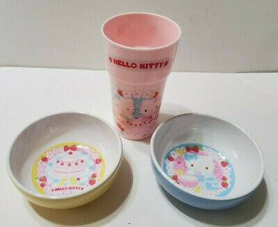 Hello Kitty Bowls And Cup 2 Melamine Bowls Plastic Cup Sanrio 2008 • 10.09£