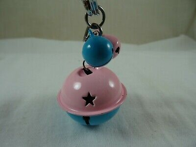 Blue & Pink Star Rattle Bell Key Chain Pull Hanger Metal 3.5  Lobster Clasp  • 6.95£