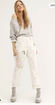 $ CDN90.87 • Buy Free People Love Alive Embroidered Cute Kawaii Vintage Cross Stitch Jeans 32
