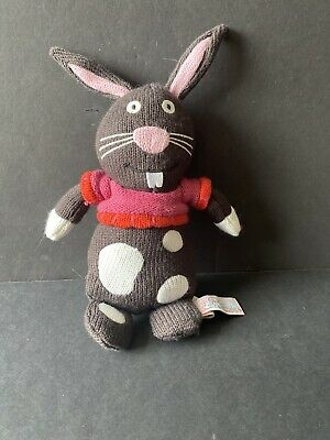 """£9.29 • Buy Latitude Enfant Brown & Pink Knit Bunny Rabbit With Sweater 9"""" Stuffed Animal"""