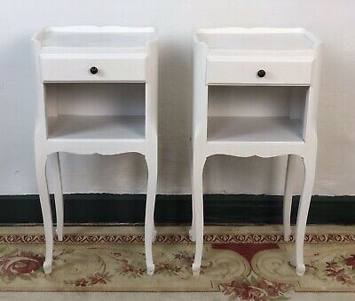 Vintage French Louis XV Style Cabinets Bedside Tables Painted In Antique White • 185£