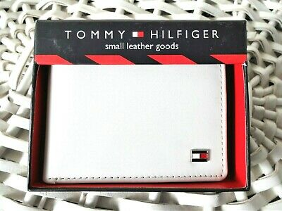 Men's Leather Wallet 'Tommy Hilfiger' Bifold, WHITE&RED,Coin Pouch, MRP $60,Sale • 17.99£