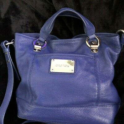 AU179 • Buy Rare....gorgeous Blue Leather Medium Size Abbey Bag By Oroton