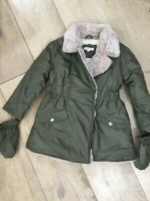 Girls Age 3-4 Warm Winter Coat, Blue Zoo • 6£