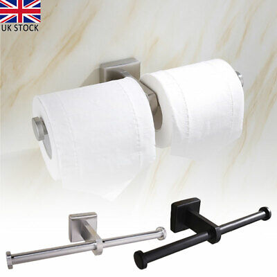 Luxury Double Toilet Roll Holder Chrome Wall Mounted Dual Paper Stainless Steel • 10.34£