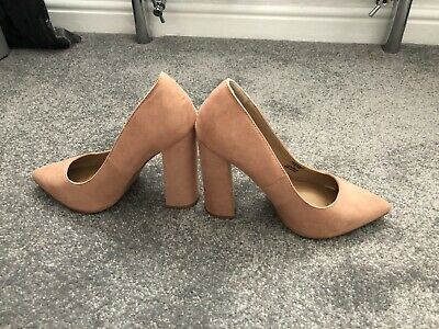 ASOS Peach Faux Suede Pointed High Block Heel Court Shoes Size 3  • 3.50£