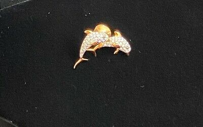 Genuine Swarovski (With Swan Logo) Gold Tone Dolphins Crystal  Brooch Pin • 16£