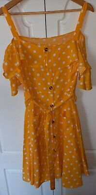 Shein Yellow Polka Dot, Button Front, Cold Shoulder Dress- Size 18 • 1.30£