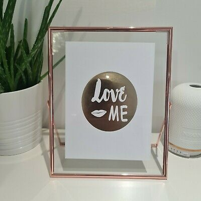 Rose Gold Floating Thin Edge Glass Free Standing Metal Photo Picture Frame 8x10 • 14.49£