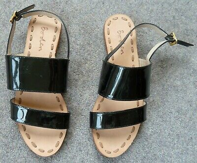 Boden Bnwob 36 (3.5) Black Patent 100% Leather Sandals Immaculate • 16£