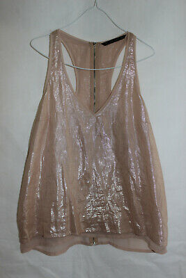 AU14.95 • Buy ZARA Womens GOLD METALLIC SHIMMER Racerback Layered TANK TOP New M /12