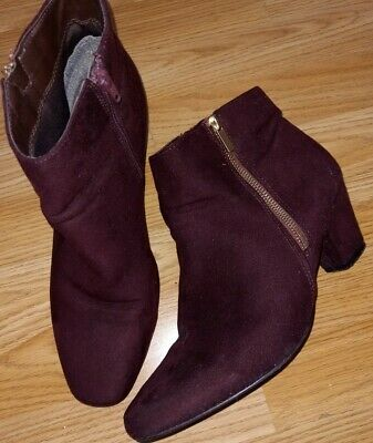 Evans Burgundy Wide Fit Ankle Boots - Size 8 • 12.59£