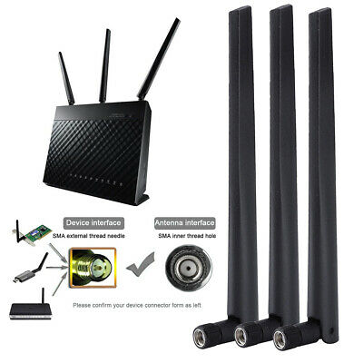 10x External 8dBi Wireless Antenna RP-SMA Male Parts For Network Router WiFi • 9.16£