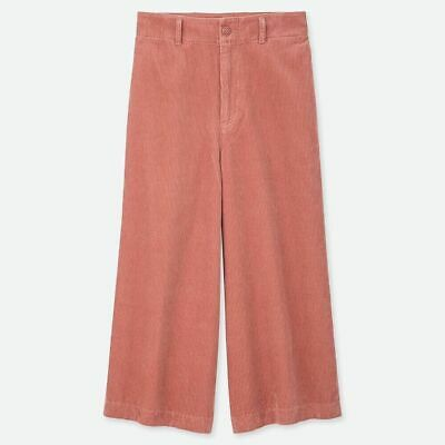 AU15 • Buy UNIQLO Women High Waisted Corduroy Wide Cropped Pants Size 29 Pink