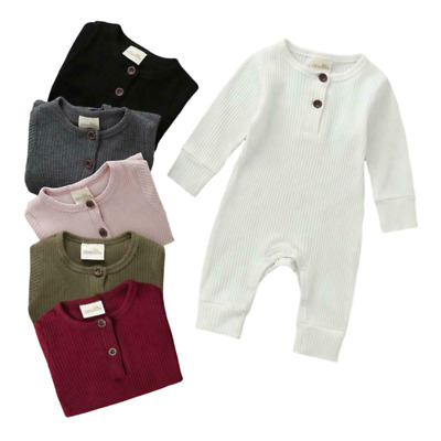 £9.49 • Buy Baby Clothes Girl Boy Plain Cotton Ribbed Romper Footless Sleepsuit Playsuit