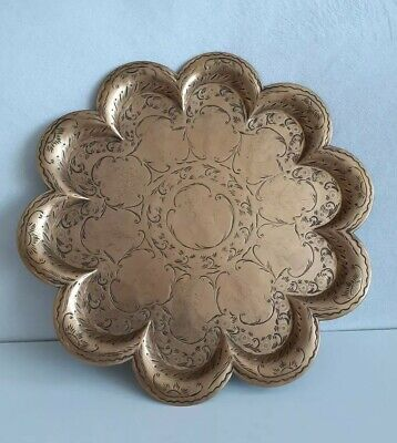 Antique Indian Brass Hammered & Engraved Scalloped Figurative Tray Plate • 50£