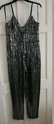 Quiz - Black And Silver Sequin Bodycon Jumpsuit Playsuit. Size 14. Brand New  • 22.99£