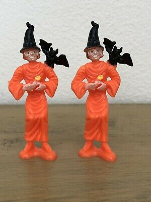 $ CDN33.02 • Buy Vintage Halloween Witch With Bat Cake Topper Lot Of 2 Orange Black