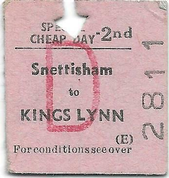 BR Railway Ticket : Snettisham - King's Lynn 1966 - Closed 1969 • 1.99£